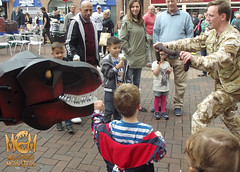 FEEDING BIG RAH SAUSAGES (Mr Cleaver's Monsters) Tags: dinosaur mr puppet monsters trex doncaster cleaver tyrannosaur dnweekend