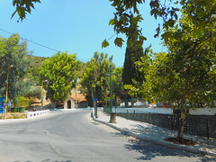 (Psinthos.Net) Tags: road trees light shadow summer sky sunlight nature leaves playground wall pavement august sidewalk treetrunk valley stonewall noon planetrees railings treebranches sunnyday paved planetree treetrunks basicschool      vrisi  blyesky psinthos                      psinthosvalley    vrisiarea psinthosschool     vrisipsinthos