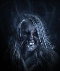 Witch Wife (J_Q_H) Tags: dark portrait smoke witch zombie cross angry scary spooky blue
