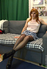 Satin top 2 (eileen_cd) Tags: sleeveless satintop stripedskirt highheel ankleboots patternedtights sitting redhead crossdresser transvestite cd tv