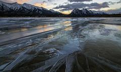 Cracks of dawn (Len Langevin) Tags: ice abrahamlake cracks sunrise frozen alberta rockies canada rocky mountains landscape winter nature nikon d300s tokina 1116