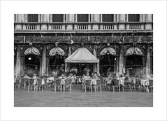 The phantoms of the Florian (andyrousephotography) Tags: venice piazzasanmarco caféflorian coffee prices expensive waiters phantoms ghosts tables chairs blackandwhite bw longexposure le andyrouse canon eos 5d mkiii