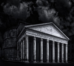 Pantheon dressed in Black (Massimo Cuomo Photography) Tags: roma rome pantheon church dome architecture black white tilt shift building long exposure italy italia europe massimo cuomo photography fine art