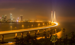 Worli Sea Link (NarayanKumar) Tags: maharashtra progress bridge bombay bandra city tourist traffic gandhi lights attraction india cable mumbai sky infrastructure arabian rajiv popular metropolitan evening suspension famous worli link construction travel vehicle sealink project tourism architecture transport