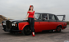 Holly FT   044 (Fast an' Bulbous) Tags: rollsroyce silvershadow drag race car fast speed power turbo british classic vehicle automobile outdoor people girl woman hot hotty sexy chick babe model pinup long brunette hair high heels stilettos shoes red tight black leather pvc jeans leggings