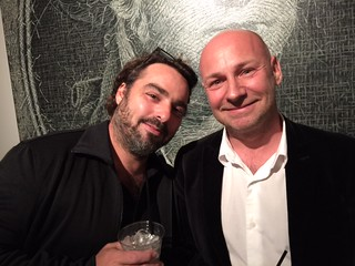 Artist Cedric Cavallier with curator Sebastian Laboureau at the Sagamore Hotel gallery opening of American Icons