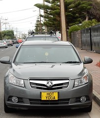 Hot Yoga Car (mikecogh) Tags: henleybeach numberplate curious contradiction advertising yoga holden promotion