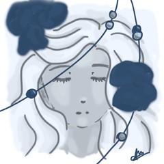 Fairy Flower (Sofia von Essen) Tags: flowers blue sleeping anime colour beauty photoshop beads graphics manga style fairy sketches tablet wacom dab intuos stilus