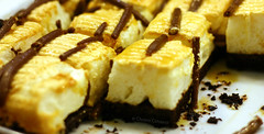 squares of caramel and chocolates (hailin.elle) Tags: food canon dessert 50mm squares chocolate caramel pastry sweets layers bites confection