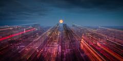 Zoom on the blue moon [Explored] (Elf-8) Tags: sky moon skyline cityscape dusk montreal fullmoon bluemoon