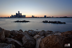 Detroit, MI - View from Windsor, ON (Ray Akey / Luminescent Memories Photography) Tags: blue beach water river gm rocks waterfront detroit scenic rocky windsor renaissance waterscape generalmotors