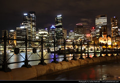 Skyline seen from Dawes Point, Sydney, Australia (JH_1982) Tags: new city light sea urban reflection wet water rain skyline wales night fence reflections point lights noche harbor rocks cityscape nacht harbour south sydney australia rainy nsw lit australien railing hafen nuit notte australie dawes the  gelnder          sdney