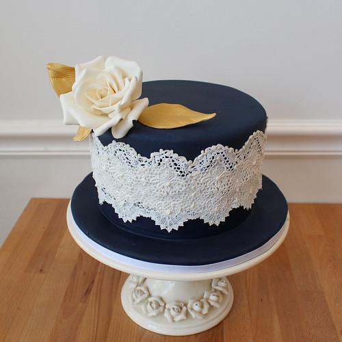 Navy Blue Sugar Lace Wedding Cake with Sugar Rose
