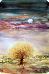 Watercolour:...Winter Moon between today and tomorrow... (Nadia Minic) Tags: winter fullmoon purplesky eveningsky landscape tree oldtree atmospheric winterevening moonlight watercolour art painting nadiaminic luxembourg inexplore