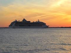 Brilliance of the Seas - Sunset Departure - Port of Tampa (TropicViking) Tags: cruiseship brillianceoftheseas portoftampa orange halloween gulfofmexico beach sunset gulfsunset tampa florida fortdesotopark egmontkey