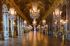 Hall of mirrors (David Khutsishvili) Tags: davitkhutsishvili dkhphoto paris versailles france chateau hall mirrors gallery royal royale galerie de glaces view museum empty golden ceiling nikon d5100 1855mm instagram 500px louis xiv palace chandelier sculpture gilded