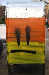 Why so sad? (mycat42) Tags: streetart graffiti candycorn mailbox lowereastside sadface