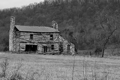 House & summer kitchen, ca1820 (ariel is . . .) Tags: virginia va empty abandoned oldhouse stonechimneys summerkitchen loghouse early1800s early19thcentury bw vernaculararchitecture ca1820 tinroof ruraldecay