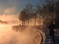 Seafog lit by the morning sun (KaarinaT) Tags: sea seafog fog sunlight morning winter beautifullight kaivopuisto helsinki finland freezing freezingcold 17degreescelsius cold coldweather