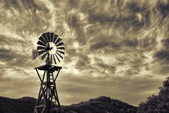 Countryfied....HSS!!! (Joe Hengel) Tags: california clouds ca cloudsstormssunsetssunrises cloudsorangecounty cloudy casperswildernesspark park hills hill goldenstate sepia bw blackandwhite monochrome windmill orangecounty oc outdoor sky theoc tree trees silhouette socal southerncalifornia sanjuancapistrano hss happyslidersunday slidersunday slider 7dwf