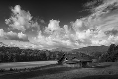 Two Barns (shutterclick3x) Tags: blackandwhite bw clouds barn landscape countryside farm backroads frankloose