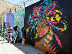 Toofly Signing Her Art (Eddie C3) Tags: newyorkcity streetart streetscenes wellingcourt wellingcourtmuralproject