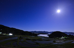 Ricefields was illuminated with strong moon light... (Yohsuke_NIKON_Japan) Tags: longexposure moon reflection nature japan night star countryside  moonlight shimane nightview nano ricefield  celestial seaofclouds sanin  d600  unkai 1635mm unnan    midlight daitou