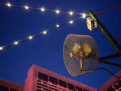P4130750-Edit (vicrattlehead5150) Tags: las pink vegas blue sunset reflection lamp electric bar night lumix lights restaurant hotel evening fan wire neon purple outdoor flamingo nevada olympus pole nv string motor 20mm build incandescent em1 f17