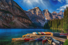 Lake Moraine (lock33photography) Tags: travel lake canada mountains nature water boats canoe canoes alberta banff 20 banffnationalpark morainelake 20bill valleyoftenpeaks tenpeaks