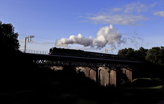 Morning shadows (EltonRoad) Tags: train railway loco class steam line viaduct locomotive westcoast sthelens rtc duchessofsutherland carrmill 46233 cumbrianmountainexpress princesscoronation railwaytouringcompany