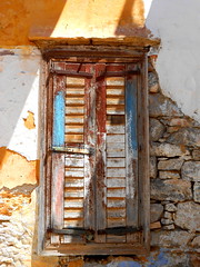 RHODES TYPE AND TEXTURES (Chris Draper) Tags: rhodes greece greekisland texture textures paint meditteranean window windows door doors brightcolour architecture shutter shuttered distressed