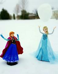 Snowball Fight (ozthegreatandpowerful) Tags: medicom real action heroes anna elsa rah frozen doll dolls figure custom ooak dress hans kristoff limited edition