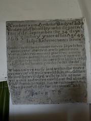 045-20160813_Abberley Norman Church-Worcestershire-Nave (originally Chancel), W end-memorial tablet to John Brasier (d.1683) (Nick Kaye) Tags: abberley worcestershire england church memorial