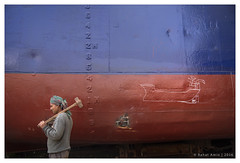 ".... (Rahat ""ArchQuad"" Amin) Tags: lifestyle documentary street ship shipyard labor worker story blue red hammer life archquad dhaka bangladesh nikon d610"