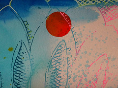 DSC0966885 (scott_waterman) Tags: scottwaterman painting paper ink watercolor gouache lotus lotusflower detail blue bluehue