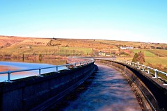 The curve in the wall (rustyruth1959) Tags: nikon nikond3200 tamron16300mm yorkshire calderdale ripponden wall handrail outdoor structure reservoir path walkway curve reservoirwall water landscape green shadows trees fields countryside walls metal sky baitingsreservoir