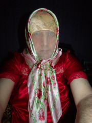 GEDC0011 (Tonya Chiffon.) Tags: red nightdress nighty scarf headscarf satin chiffon sheer