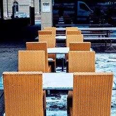 my city - off season street cafe (dan.boss) Tags: streetcafe jakobbern casinoplatz switzerland bern winter snow chairs tables verbot reflection