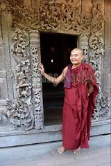 30099865 (wolfgangkaehler) Tags: 2017 asia asian southeastasia myanmar burma burmese mandalay mandalayhill shwenandawmonastery goldenpalacemonastery buddhist buddhistart buddhistartwork buddhistmonasteries buddhistmonastery buddhisttemple buddhisttemples teakwood teak woodenarchitecture woodencarving people person posing buddhistmonk man
