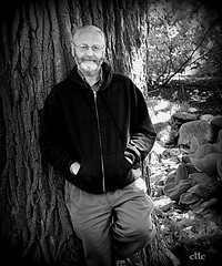 tree leanin' (milomingo) Tags: blackandwhite bw man tree male me nature monochrome contrast myself outdoors grain highlights mature vignette bearded over50 over60 i cttc