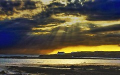 (Xenostral) Tags: sunset sea seascape wales island evening dusk nighttime stormclouds anglesey churchinthesea stcwyfan