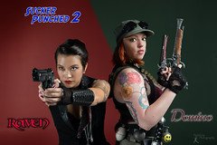 Sucker Punched 2: Raven and Domino (FightGuy Photography) Tags: hat leather cosplay goggles tattoos redhead armor pistol guns michele grenade sleeve abbi shotgunshells womenwithweapons womenwithguns suckerpunched fightguyphotography cosplaywomen