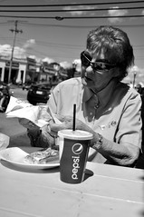 G (Miktendo64) Tags: old people bw reflection texture sunglasses reflections pizza reflect napkins pepsi wrinkles cheesey
