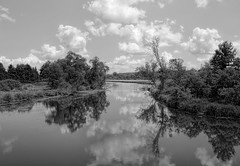 Fox River, Waukesha Wisconsin, USA (MalaneyStuff) Tags: trees summer bw usa water wisconsin clouds rural river nikon july fox foxriver 2015 d5100 rural20150725