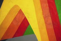 Triumphal arch (DjaronvanBeek - Healthproblems, mostly off-line) Tags: red urban orange streetart abstract green texture colors lines amsterdam yellow composition mural colorful pattern colours bright outdoor geometry strokes curves minimal depthoffield part repetition neat colourful cracks minimalism joyful joyous outerwall 3deffect artistunknown colourartaward djaronvanbeek