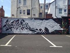 Cusp (Wheretorchlightfalls) Tags: uk sea sun wall graffiti sand paint graf letters science spray minimal aerosol blackpool primal cusp
