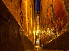 Mårten Trotzigs gränd (Jens Haggren) Tags: olympus em1 street alley narrow lights stairs longexposure gamlastan oldtown stockholm sweden