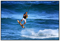 Kite Surfing... (juliewilliams11) Tags: sport photoborder outdoor water sea wave splash fitness newsouthwales newcastle australia fun blue summer surf