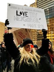 Love Thy Neighbor (ShelSerkin) Tags: shotoniphone hipstamatic iphone iphoneography squareformat mobilephotography streetphotography candid portrait street nyc newyork newyorkcity gothamist notmypresident nobannowall