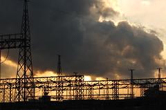 dusk (T.Machi) Tags: electricity dusk factory shadow twilight japan industry orange xf1 fujifilm cloud line power